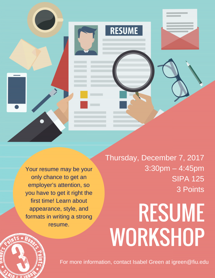 Honors Hour Career Services Resume Workshop Honors College
