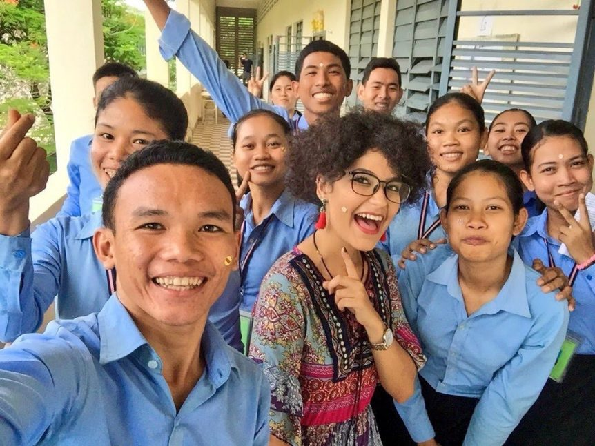 Pierina Anton in Cambodia with students