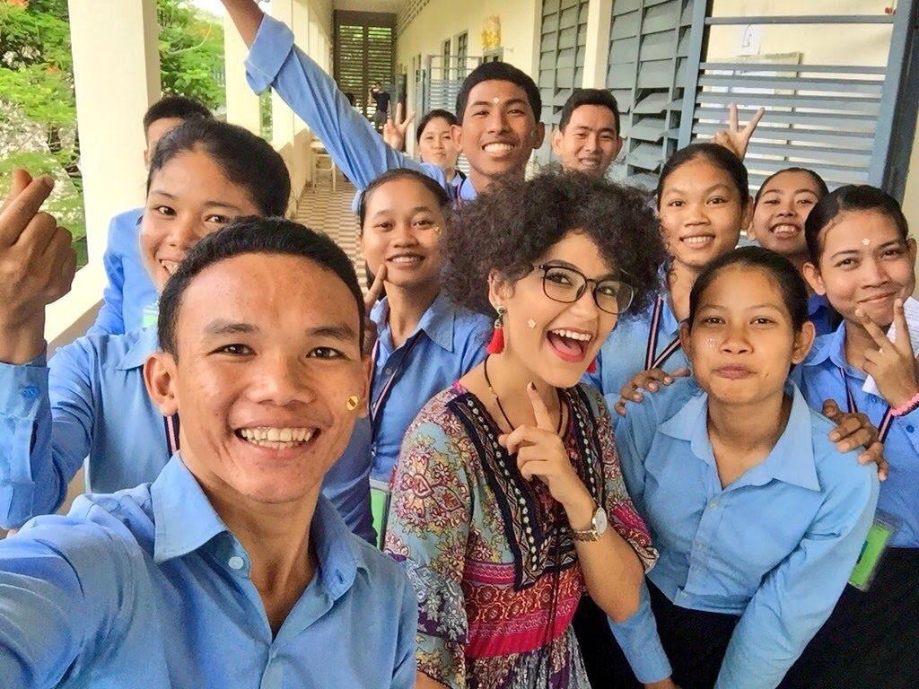 Pierina Anton in Cambodia with students